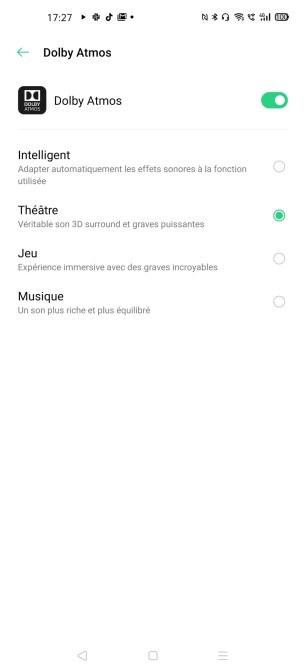 Brancher un casque filaire permet de modifier le mode d'écoute de l'Oppo Find X2 Pro