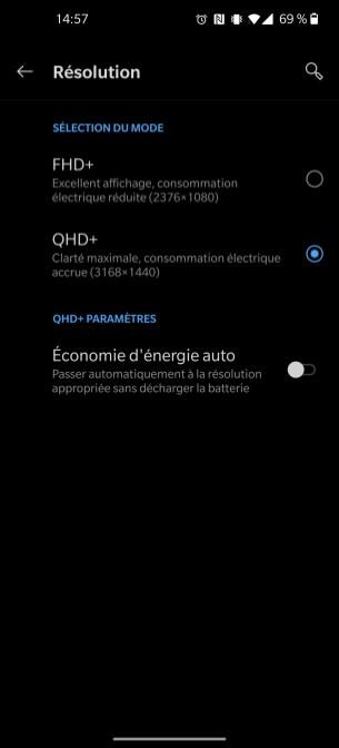 Réglages affichage OnePlus 8 Pro