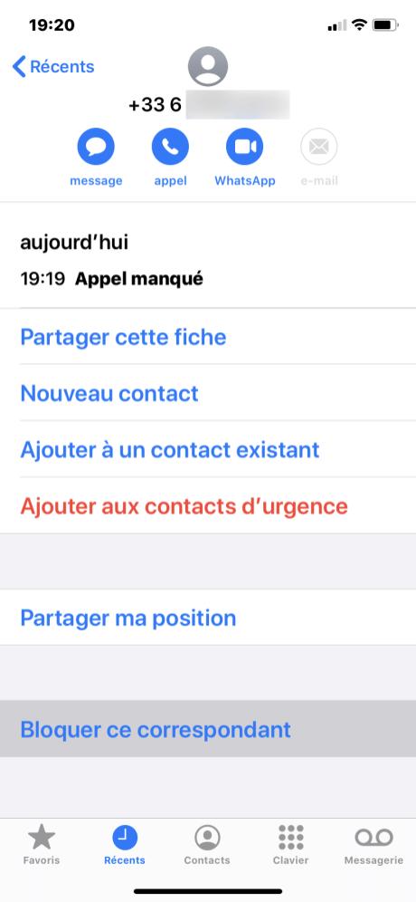 Bloquer numero iphone 2