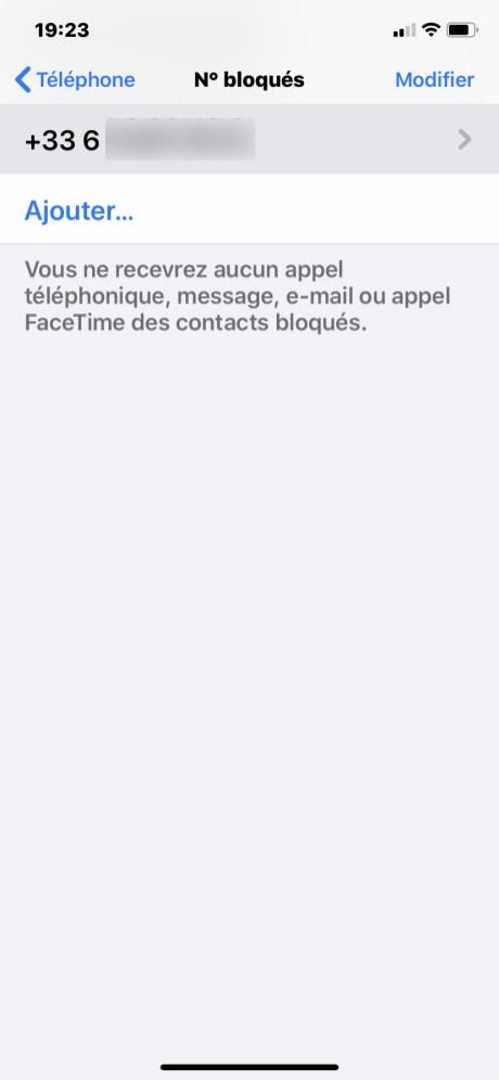 Bloquer numero iphone 9