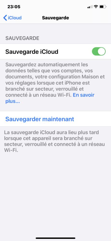 Sauvegarde iphone 5