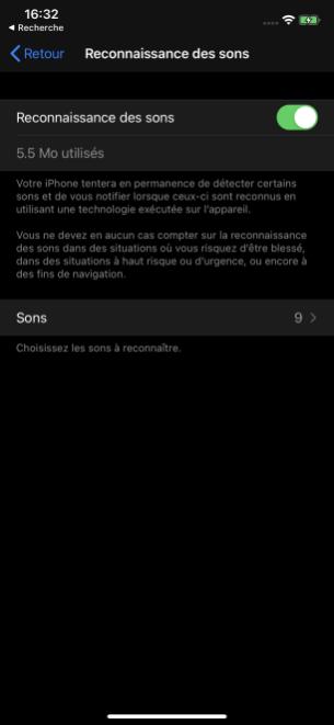 La détection des sons dans les paramètres d'accessibilité d' iOS 14