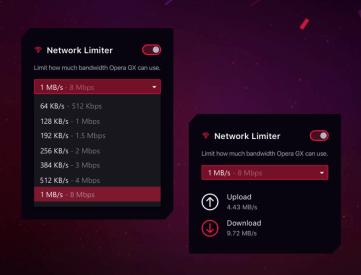 La gestion de la bande passante dans Opera GX // Source : Opera