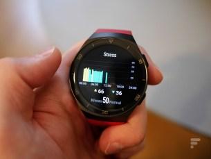 Le niveau de stress affiché sur la Huawei Watch GT 2e