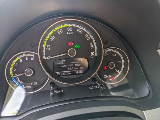 Notre consommation de 10.7 kWWh/100 km après 443 km