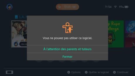 Nintendo Switch contrôle parental restriction