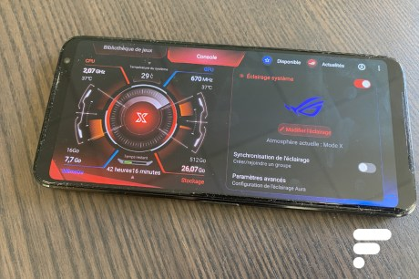 L'espace gaming Armoury Crate sur le ROG Phone 3 // Source : Frandroid