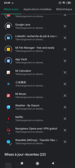 Une application au nom chinois au premier démarrage