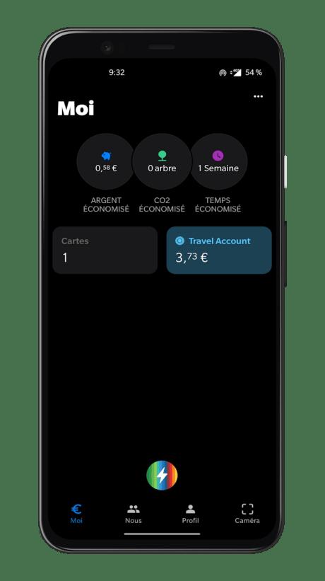 Bunq Travel - Onglet principal