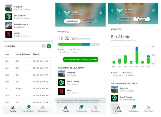 La gestion du temps d'écran de l'enfant sur l'app Family Settings // Source : Xbox