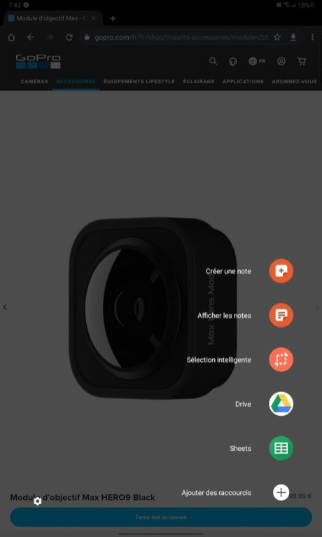 Samsung Galaxy Tab S6 Lite - Raccourcis