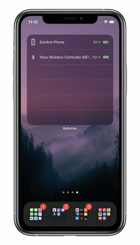 iOS 14 affiche le niveau de batterie de la manette // Source : Frandroid