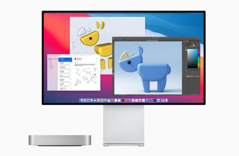 Ici le nouveau Mac mini M1 accompagné de l'écran Apple Pro Display XDR