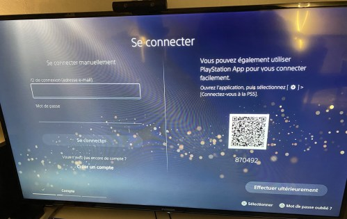 PS5 installation configuration compte