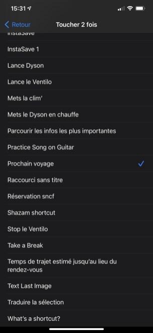 Menu iOS 14 toucher le dos accessibilité raccourcis options Tape
