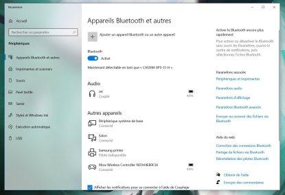 Le menu Bluetooth affiche le niveau de batterie de la manette // Source : Frandroid