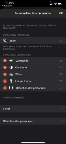 Le menu de réglages de l'app Loupe