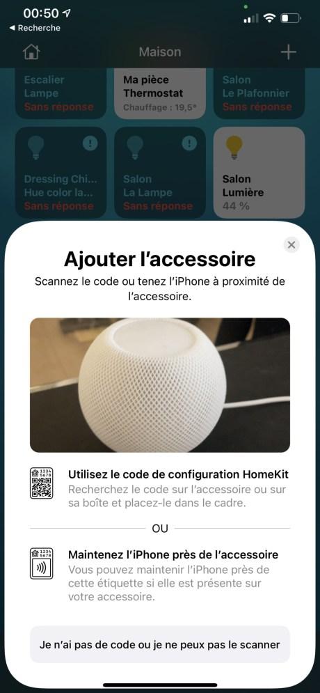 Il est possible de configurer le HomePod mini depuis l'app Maison