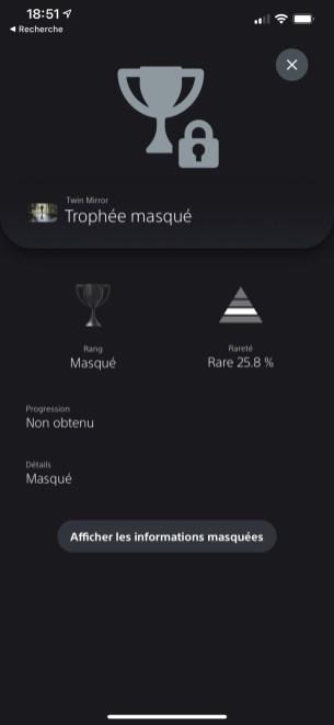 PS5 trophées masqués application mobile