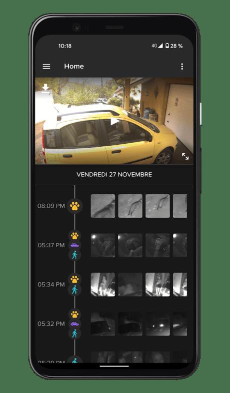 Netatmo Caméra Extérieure Intelligente avec Sirène - Application - Timeline (2)