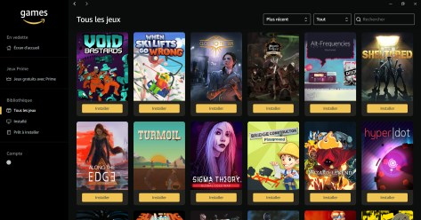 Amazon Games interface to retrieve PC games offered to Prime subscribers