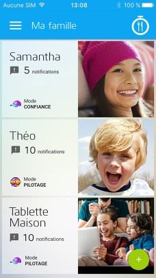 Le tableau de bord sur l'app Xooloo Parents