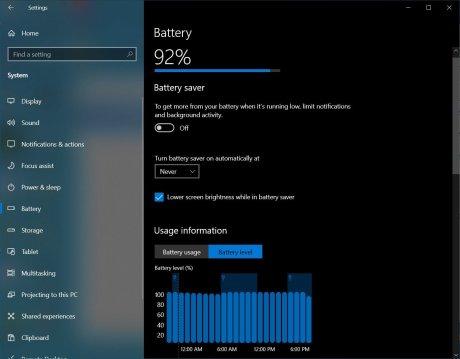 Nouveau menu Batterie sur Windows 10