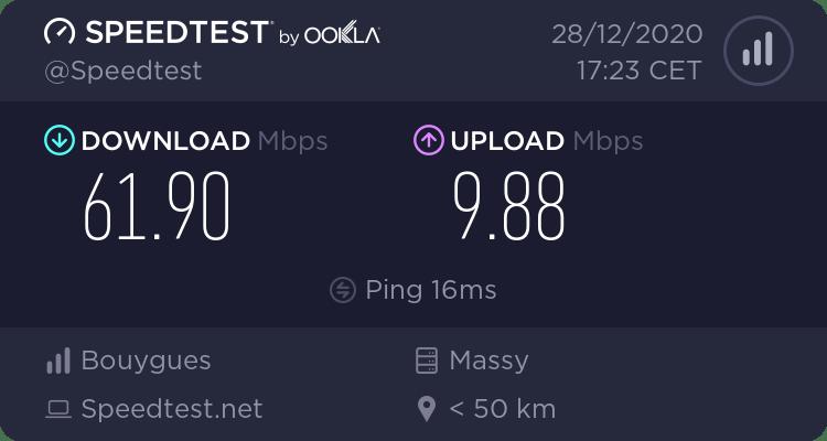 Test de débit en 4G et en Gigabit Ethernet