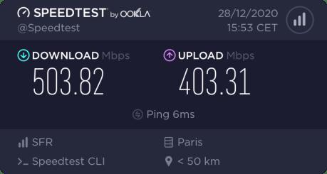 Test de débit en FTTH et en Wi-Fi 5