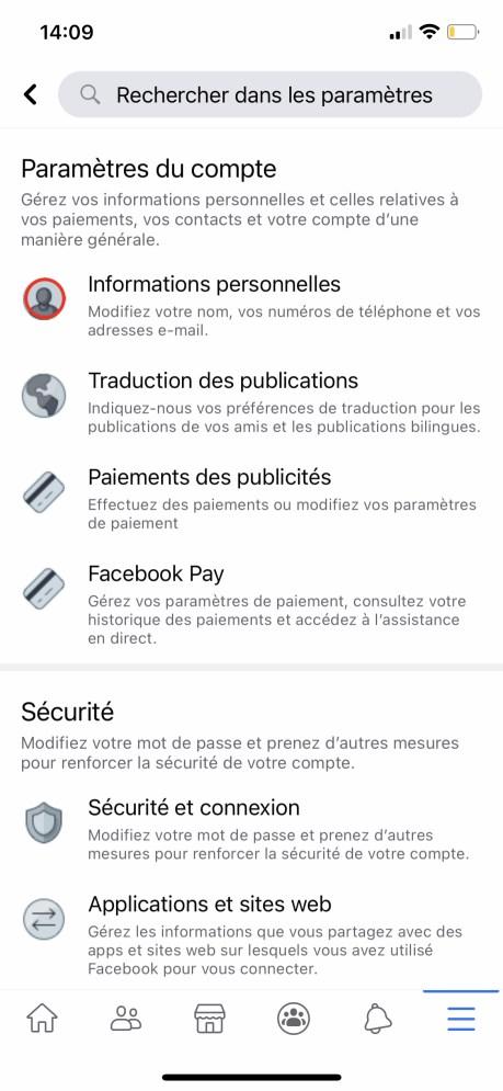 Comment changer son nom sur Facebook de son appli smartphone 03