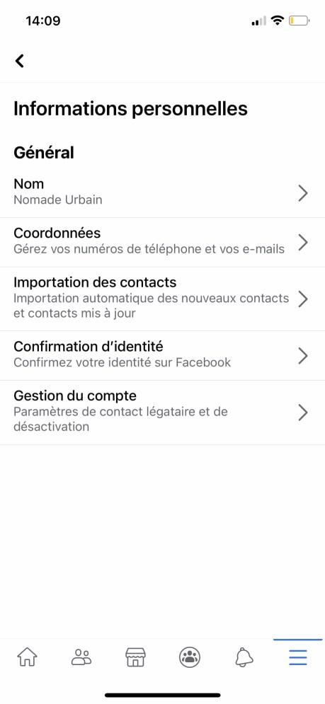 Comment changer son nom sur Facebook de son appli smartphone 04
