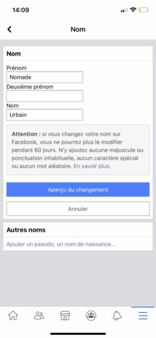 Comment changer son nom sur Facebook de son appli smartphone 05