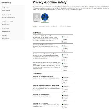 Confidentialité Xbox Live navigateur