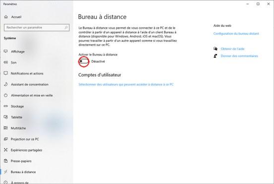 Autoriser la prise de contrôle à distance d'un PC sous Windows 10 03