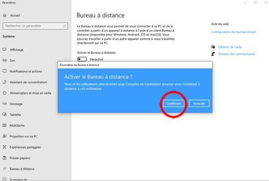 Autoriser la prise de contrôle à distance d'un PC sous Windows 10 04