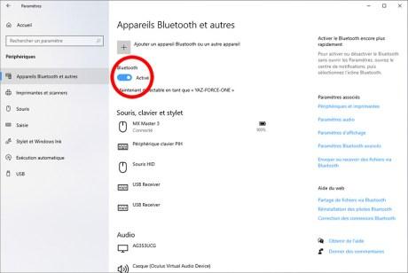 Comment activer et désactiver le Bluetooth sous Windows 10 05