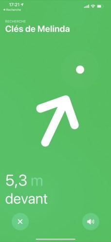 Precision Finding oriente la recherche de l'Apple AirTag grâce à sa puce U1 // Source : FRANDROID
