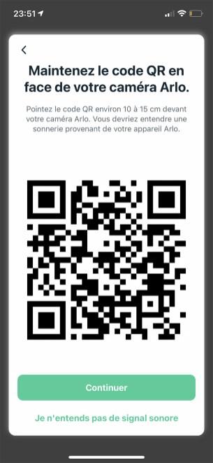 Le QR Code d'installation de la caméra Arlo // Source : Frandroid / Yazid Amer