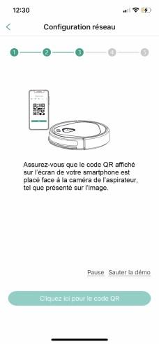 Particularité de ce robot, il doit lire un QR Code affiché sur l'app // Source: Frandroid/Yazid Amer