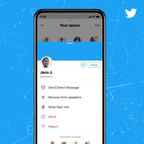 Gestion de votre espace Twitter Space // Source : Twitter