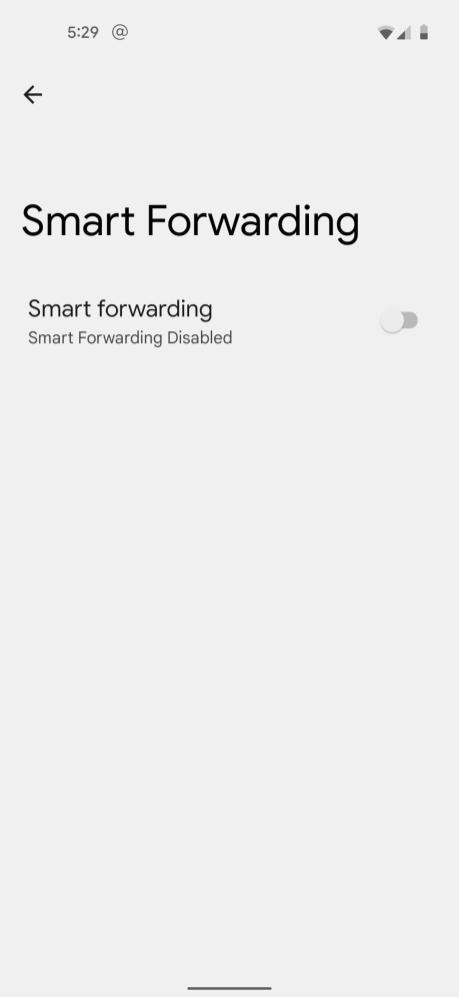 L'interface du futur Smart Forwarding sur Pixel 5.