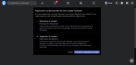 Supprimer compte Facebook PC validation