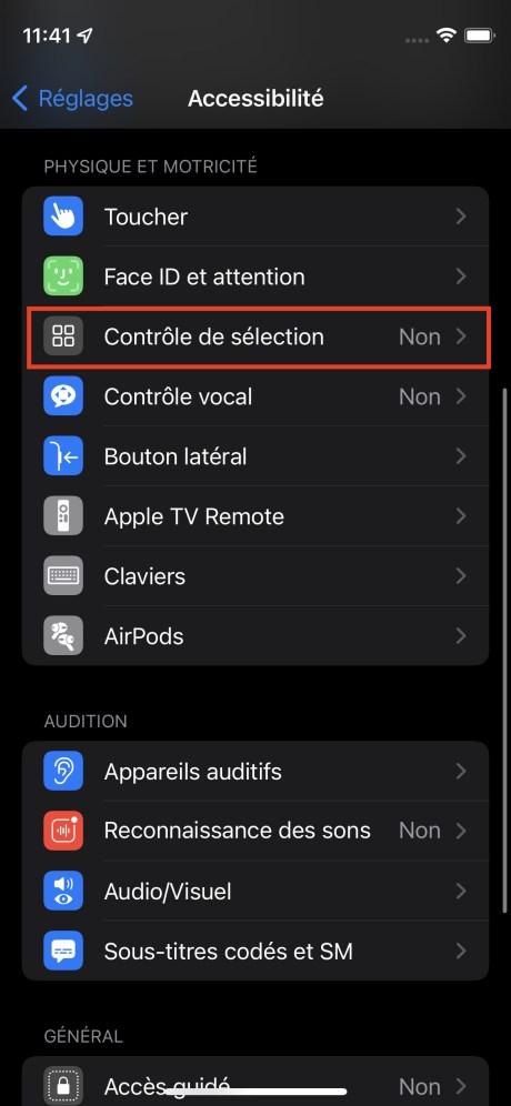 Le menu Accessibilité de l'iPhone // Source : FRANDROID