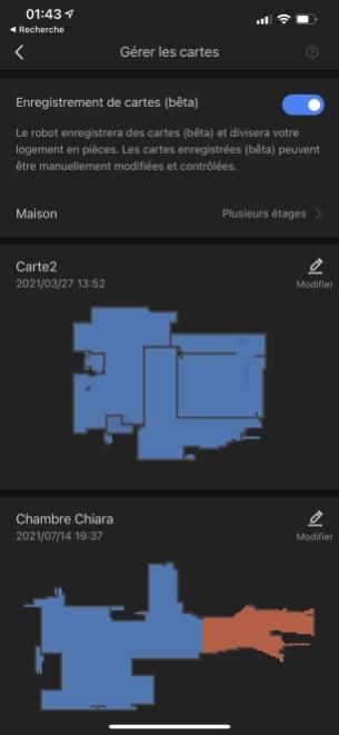 L'app Roborock mémorise plusieurs cartes et étages // Source : Frandroid