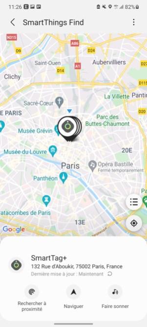En vue Maps, vous aurez accès à trois boutons : recherche à proxmité, Naviguer ou faire sonner.