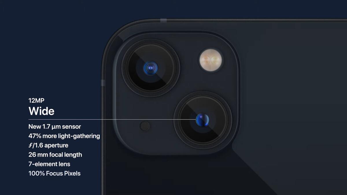 Le détail des appareils photo de l'iPhone 13