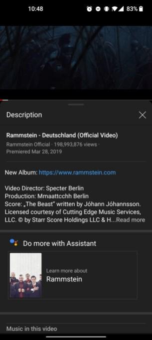 La fonction Google Assistant dans YouTube