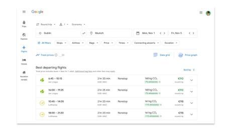 Google Flights indique l'empreinte carbone de votre réservation d'avion