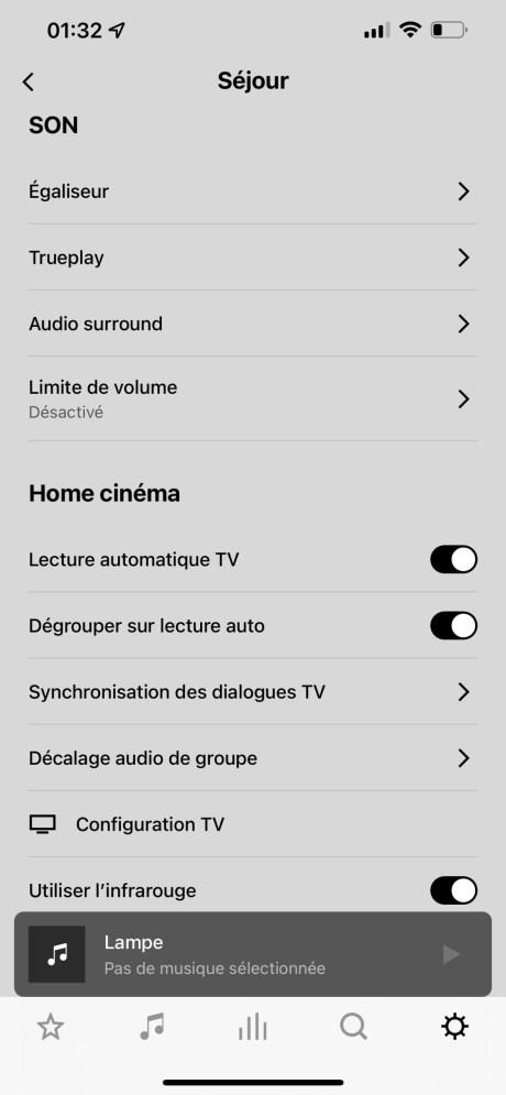 Les paramètres de l'app Sonos S2 // Source : Frandroid - Sonos