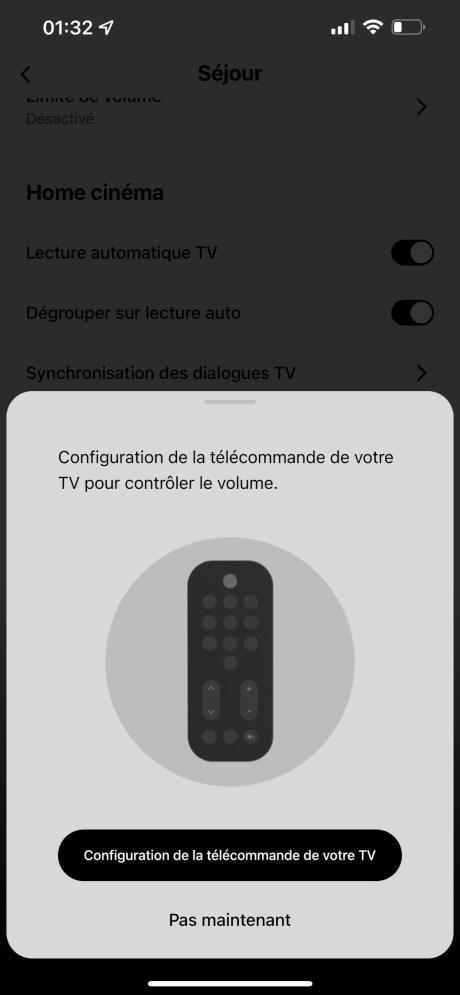 A défaut d'avoir sa propre télécommande, la Beam 2 peut s'accommoder de la vôtre // Source : Frandroid - Sonos